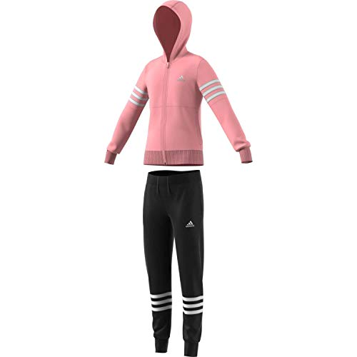 adidas Kinder YG Hood PES TS Trainingsanzug rosa 128