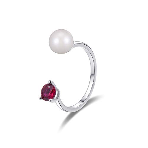 A & B Freshwater Pearl Open Ring with Synthetic Ruby Red in Sterling Silver Ring.