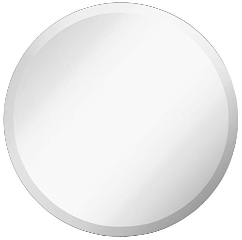 "Large Simple Round 1 Inch Beveled Circle Wall Mirror | Frameless 24 Inch Diameter Circular Mirror With a Silver Backed Rounded Mirrored Glass Panel | Best for Vanity, Bedroom, or Bathroom (24"" x 24"")"