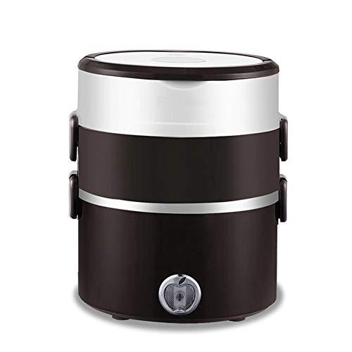 Fiambrera Eléctrica Marrón INOX con Bandeja Extraíble De Acero Inoxidable Portátil, Recipiente De Comida Térmico 1.8L