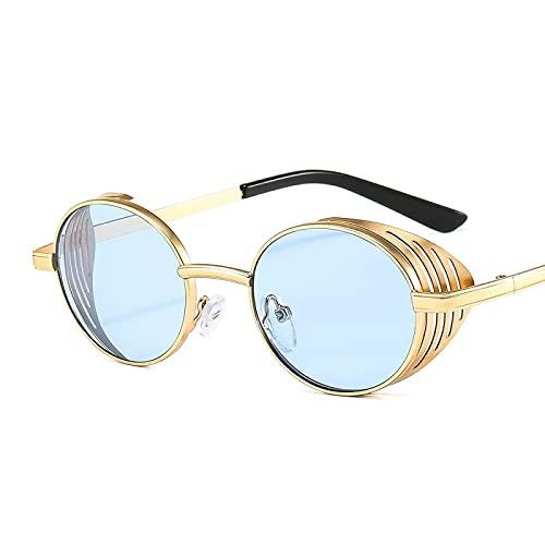 HAOMAO Antirreflectante Steampunk Metal Uv400 Espejo Gradient Shades Gafas de sol redondas para hombres y mujeres Dorado Azul