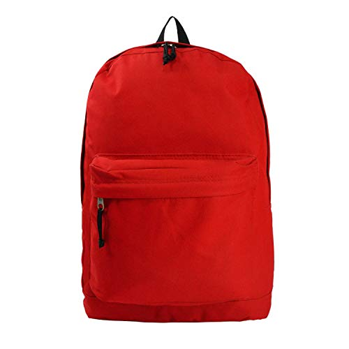 Classic Bookbag Basic Backpack Simple School Book Bag Casual Student Daily Emergency Survival Daypack 18 Inch with Curved Shoulder Straps Red