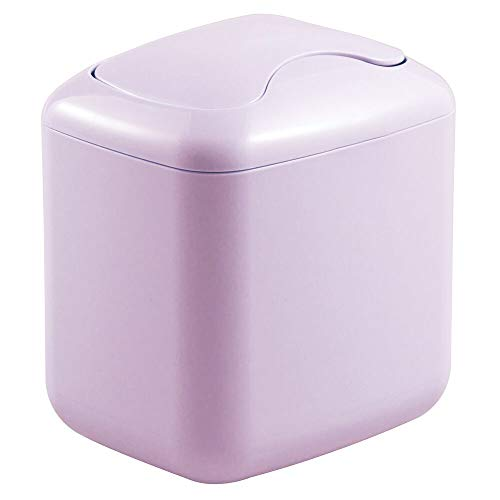 mDesign Modern Plastic Square Mini Wastebasket Trash Can Dispenser with Swing Lid for Bathroom Vanity Countertop or Tabletop - Dispose of Cotton Rounds, Makeup Sponges, Tissues - Wisteria Purple