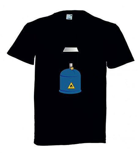 Camiseta de Manga Corta, diseño de Linterna de Gas con Texto Licht- PROPAN Negro para Hombre Talla : XX-Large