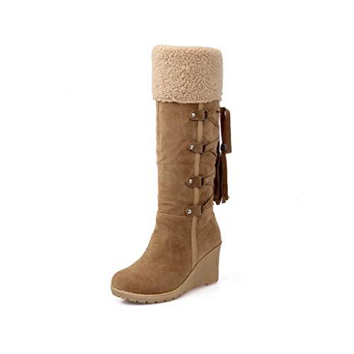 Geproduceerd damesschoenen van Alten Frosted PU rond hoofd met franjes Wedges en kalf laarzen dames winterlaarzen HAODAMAI