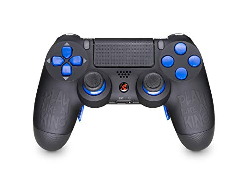 KING CONTROLLER PS4 Curved Paddles Custom Design Play Like a King Blue - DualShock 4 - PlayStation 4 Pro Slim - Wireless PS4-Controller