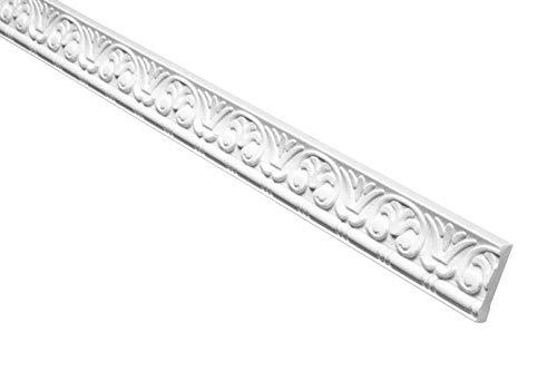 Marbet Deckenleiste B-10 weiß aus Styropor EPS - Stuckleisten gemustert, im traditionellen Design - (20 Meter Sparpaket) Styroporleiste Winkelleiste Wandleiste