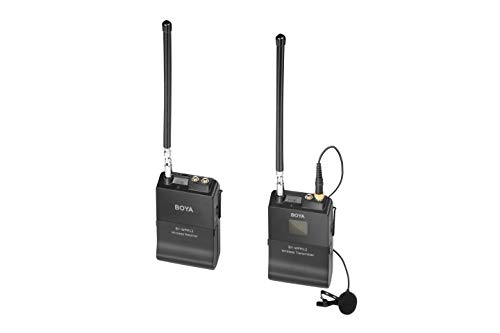 Professional Wireless Lavalier Mic, BOYA BY-WFM12 12-Channels VHF Transmitter and Receiver System for DSLR,Camera,Canon,Sony,Nikon,iOS,iPhone X 8 7 6 Smartphone,Panasonic,DV Camcorders,Audio Recorder