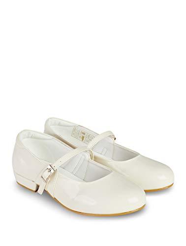 V.C. Festliche Mädchen Schuhe Kommunionschuhe Ballerinas Creme 31