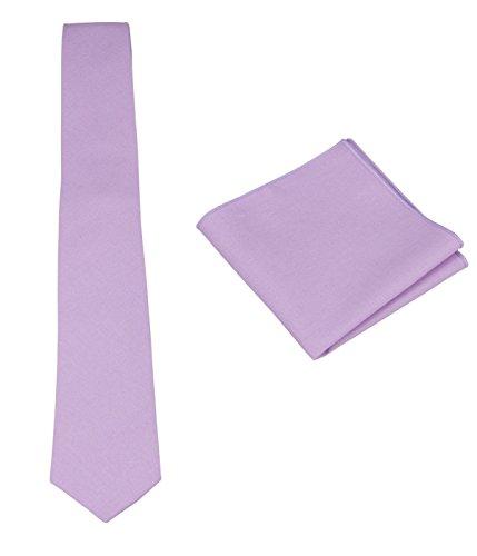 Mens Solid Skinny Linen Tie Set: Necktie and Pocket Square Set Gift Ideas (Lavender)