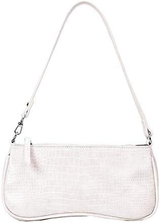 Eva Shoulder Bag Purse Y2K Fashion Shoulder Bag for Women Mini Bags Vegan Leather Purse Croc Pattern Black