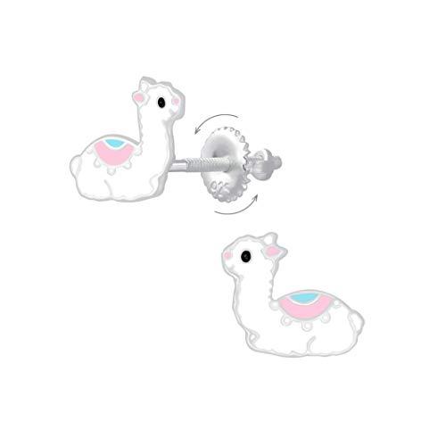 Laimons Pendientes infantiles con diseño de alpaca, 9 x 7 mm, color blanco y rosa, con cierre de rosca de plata de ley 925