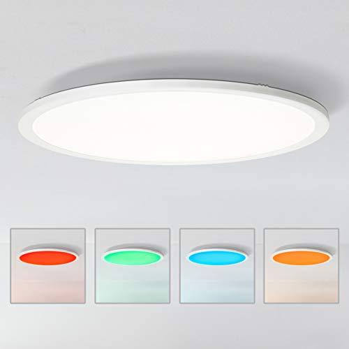 Preisvergleich Produktbild LED Panel Deckenleuchte,  Ø60cm,  40 Watt,  RGB Farbwechsel per Fernbedienung steuerbar,  2700-6200 Kelvin,  Metall / Kunststoff,  Weiß