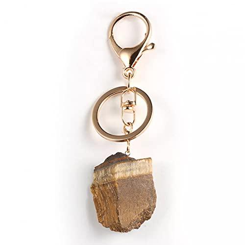 TOBENOI Kreative Schlüsselbund Persönlichkeit Unregelmäßiges Tigerauge Stein Schlüsselbund Autotasche Schlüsselbund Anhänger Charm Zubehör Geschenk