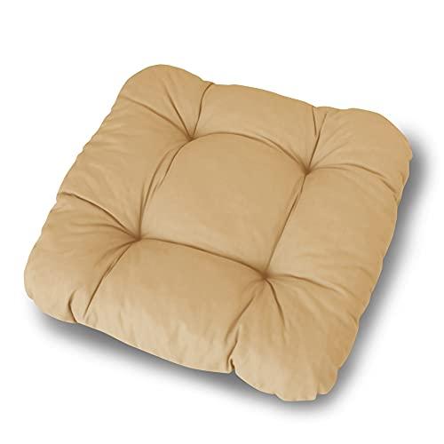 LILENO HOME 4er Set Stuhlkissen Taupe (38x38x8 cm) - Sitzkissen für Gartenstuhl, Küche oder Esszimmerstuhl - Bequeme UV-beständige Indoor u. Outdoor Stuhlauflage als Stuhl Kissen