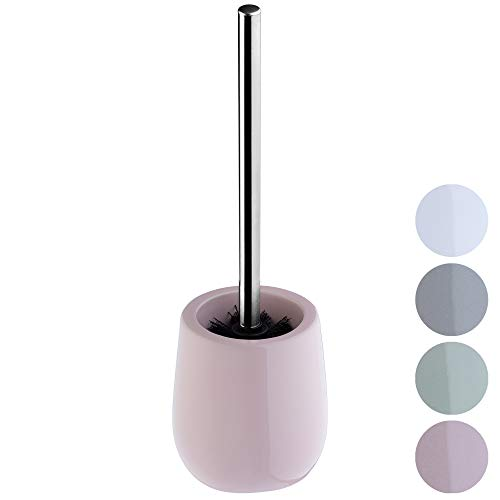 KADAX WC-Bürste mit Behälter aus Keramik, Toilettenbürste mit langem Stahlgriff, Klobürste für Bad, Bürstengarnitur, WC-Garnitur für eine saubere Toilette, stehend (rosa)