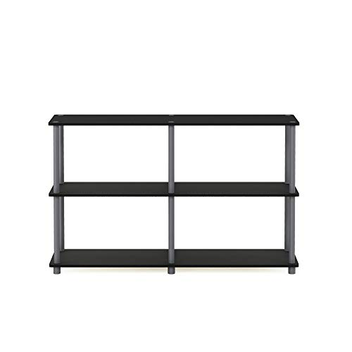 Furinno 99634 BK/GY Turn-N-Tube 3-Tier Double Size Storage Display Rack, Black/Grey