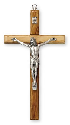 12cm Wall Hanging Olive Wood Crucifix Cross Silver Metal Corpus 10653