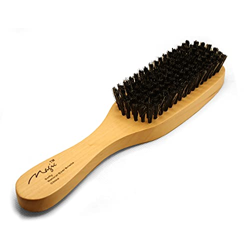 Natural Boar Bristles Hair and Beard Brush. Reinforced Soft Natural Fibers Hair Brush, Unisex, Adults, Children and Babies. Wooden Handle. 9 Inches Long.