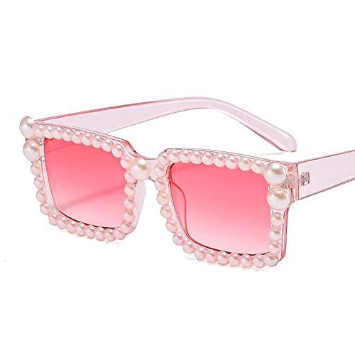 AMFG Pequeño semicírculo cuadrado Pearl Gafas de sol Damas cuadradas Simple Sunglasses Sunshade Mirror (Color : B, Size : M)