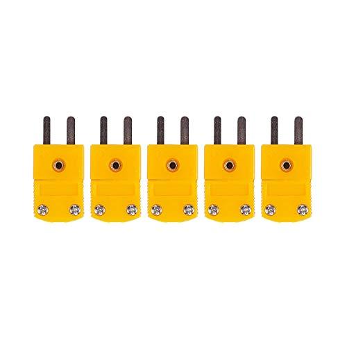 RETYLY 5 Stueck RTD Stromkreise K Typ Temperaturfuehler Thermoelement Stecker Gelb