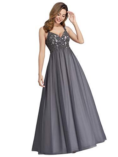 Ever-Pretty A-línea Vestido de Noche Cuello en V Vestido de Fiesta Encaje Largo para Mujer 00972