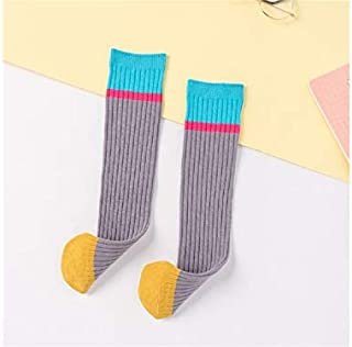 Lovely Socks Children Cotton Socks Kids Color Matching Stripe Pattern Mid Tube Socks(Black) Newborn Sock (Color : Grey)