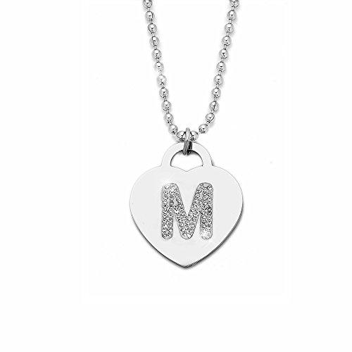 Collana con ciondolo da donna in acciaio con cristalli con lettera iniziale - pendente a forma di cuore con lettera dell'alfabeto - collana con catenina lunga 90 cm - argento e cristalli (M)