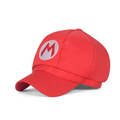 ShAwng 5 Farben! Anime Super Mario Hut Kappe Luigi Bros Cosplay Baseball Kostüm Geburtstagsgeschenk Mario Caps Geschenk Erwachsene Kinder Größe, Rot, 50-52cm