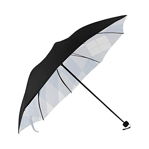 Best Umbrella Blue Lozenge Checkered Underside Printing Umbrella Large Travel Parasol Umbrella For Kids With 95% Uv Protection For Women Men Lady Girl