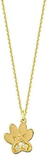 14  Gelb Gold 0,03 T Diamant Halskette mit Hundemotiv verstellbar 46cm