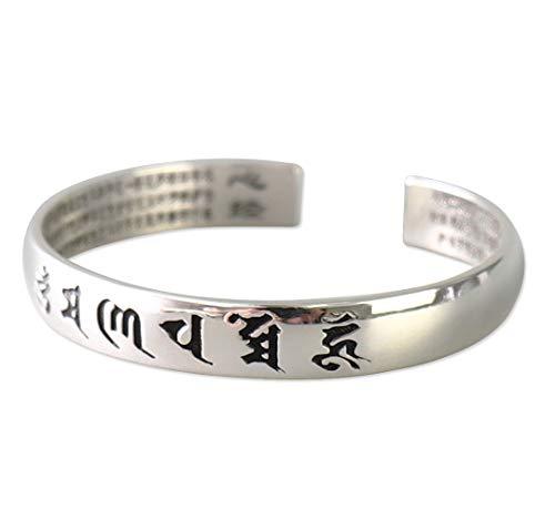 Reclaiming Zen Tibetisch Buddhistischer Silber Om Mani Padme Hum Erleuchtung Mantra Armreif (Dunkle Gravuren)