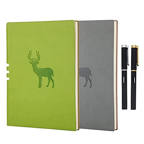 Aomiduo Cuaderno en blanco con papel grueso de primera calidad - Divisores de regalo - Tapa dura lisa A5+ Cuaderno Notebook PU Cuero, Papel 70gsm Juego de 2 piezas,Verde&Gris(Dos bolígrafo