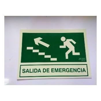 Cartel PVC Fotoluminiscente Salida Emergencia Escalera Arriba Izquierda 30x21: Amazon.es: Industria, empresas y ciencia