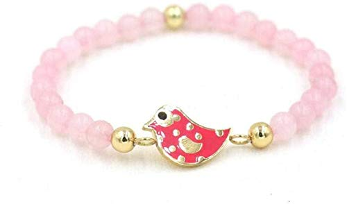 Pulsera de piedra Mujer, 7 chakra perlas de piedra natural Rose Cuarzo Brazalete Elástico Pájaro Red Pájaro Animal Joyería Yoga Energía PROTECCIÓN PROTECCIÓN DEL CHARM DIFUSIÓN MUJERES Pulseras JPSOUP