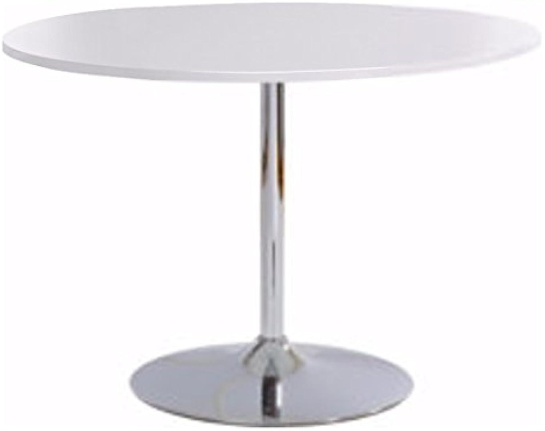 Loft24 TROMPET Esszimmertisch Esstisch Küchentisch Bistro Cafe Bar Tisch Trompetenfu Metall 110 cm Rund Modern (Wei Hochglanz)
