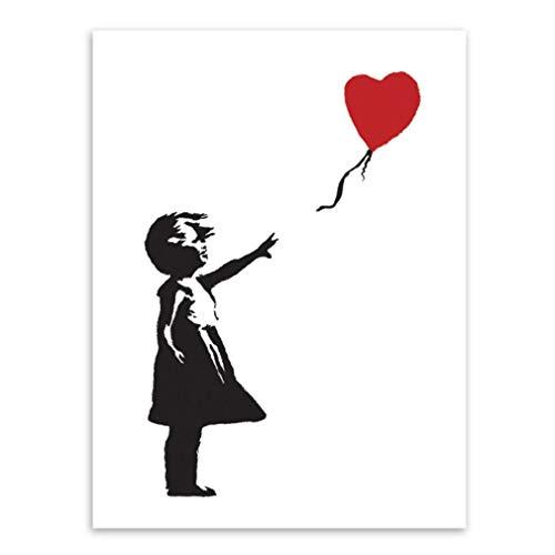 MINRAN DECOR Pintura de Pared Impresión de Moderna de Lona Arte Decoración Salón Oficina Regalo - Cuarto de niño Serie Banksy Niña con Globos,1,60x80cm