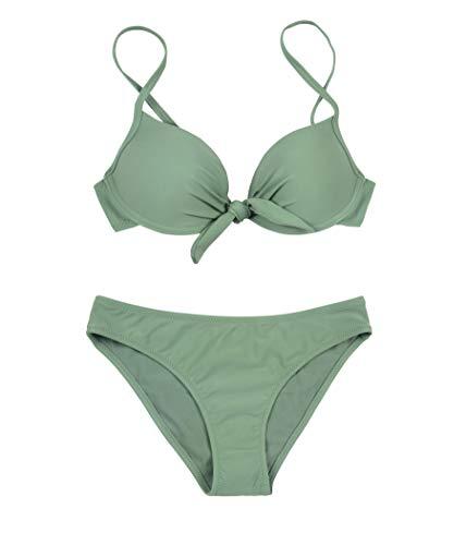 PF Damen Zweiteilige Krawatte geknoteten Badeanzug schmeichelhaften Bikini S-XXL italienischen Design Bademode (2659-Green, XL)