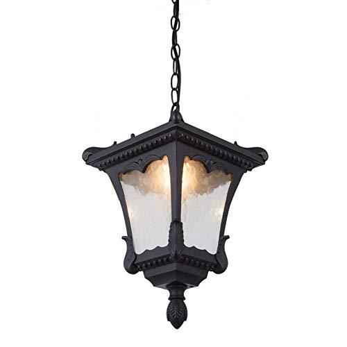 KMMK Novely Chandeliers- Lámpara colgante ajustable en altura Lámpara impermeable para exteriores Lámpara colgante para interiores/exteriores Lámpara colgante industrial vintage de aluminio negro P