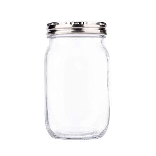Premium Regular Mouth Mason Jar 32 oz by Soul, Crystal Clear Glass, Airtight Stainless Steel Lid, Dishwasher Safe, BPA Free, Drinking Jar, Canning Jar [3rd Gen] [1-Pack]