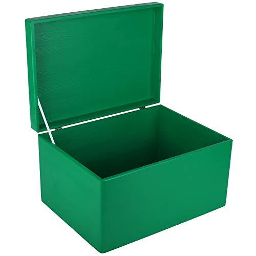 Creative Deco XXL Verde Grande Caja de Madera para Juguetes | 40 x 30 x 24 cm | con Tapa Cofre para Decorar Almacenaje de Documentos, Objetos de Valor