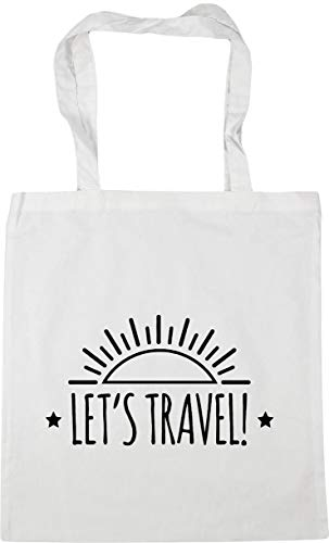 Hippowarehouse Let's Travel Tote Shopping Gym Beach Bag 42cm x38cm, 10 litres