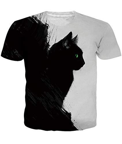 Fanient Camiseta con Estampado de Hombre Cat...