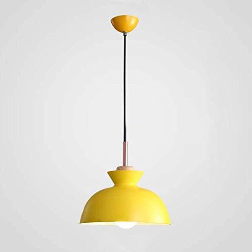 Lámpara Colgante Iluminación Moderna Aluminio Madera Restaurante Estudio Dormitorio Macaron Color Araña de un Solo Cabezal (Bombilla no incluida) Gris D28 × H18cm-D28 × H18cm_Amarillo Fantastic
