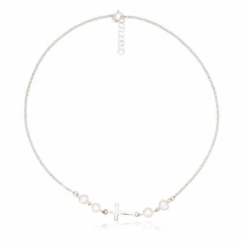 Córdoba Jewels | collana in argento Sterling 925con motivo ESSENCIA Croce di 23x 10MM perla coltivata di 7mm. Largo 40cm con catena regolabile.