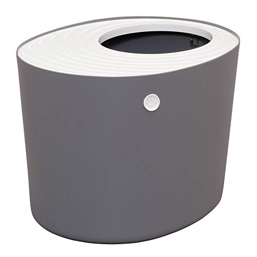 Iris Ohyama, toilette gatti con scanalatura coperchio, ingresso superiore e pala - Top Entry Cat Litter Box - PUNT-530, plastica, grigio, 53 x 41 x 37 cm