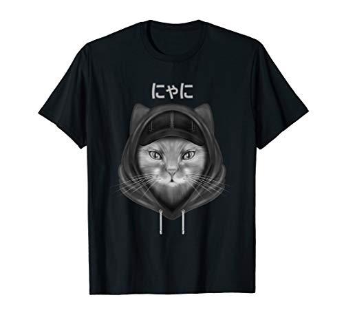 Funny Cool Neko Cat Ear Hoodie Art Men Anime Manga Japan T-Shirt