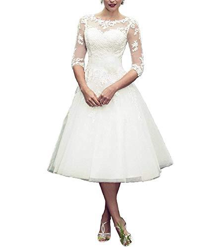 Hochzeitskleider Standesamt Damen Kurz Weiß A Linie 3/4 Länge Transparent Brautkleider mit ärmel Prinzessin