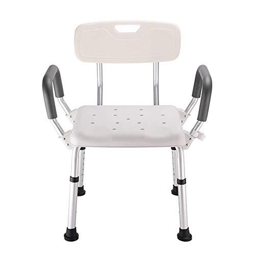 TWL LTD-Wheelchairs Seniorenbadestuhl mit Armlehnen Verdickungssitz, Geeignet für Ältere Menschen mit Behinderung, rutschfest Weiß