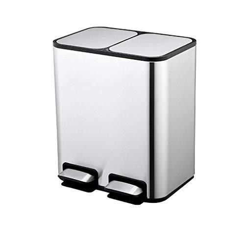 GLF Cubo de basura de acero inoxidable para reciclaje, cubo de basura con tapa y pedal, cubo de basura para uso interior, exterior o comercial (color: acero inoxidable, tamaño: 12 + 12L)